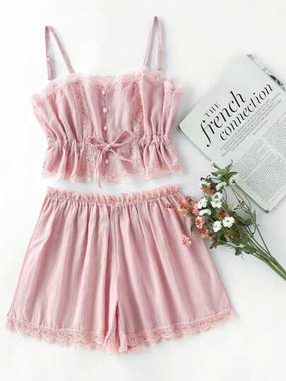 Contrast Lace Cami With Shorts Pajama Set