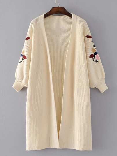 Drop Shoulder Embroidery Open Front Cardigan