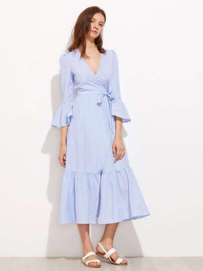 Vertical Striped Puff Sleeve Frill Dress