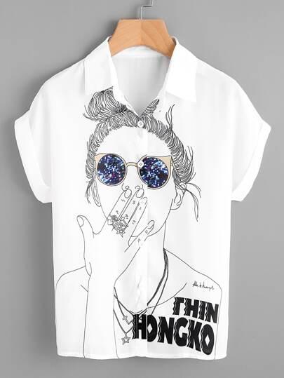 Модная шифоновая рубашка с принтом