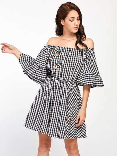 Embroidered Patch Trumpet Sleeve Checkered Bardot Dress