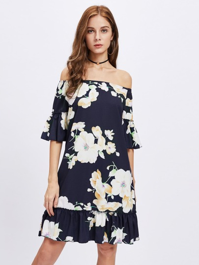 Bardot Flute Sleeve Frill Trim Florals Dress