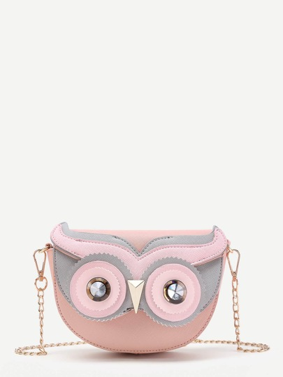 Owl Design Flap Chain Cross Body Bag