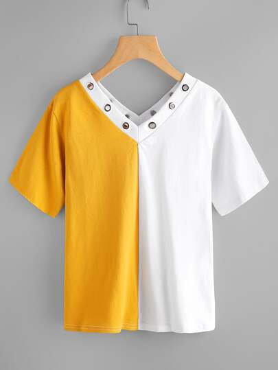 Two Tone Double V Grommet Detail Tee