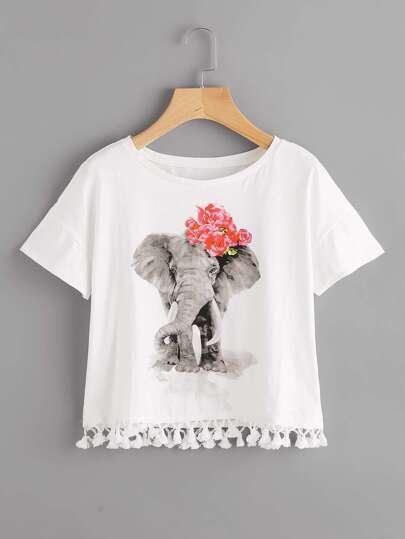 Elephant Print Tassel Hem Tee