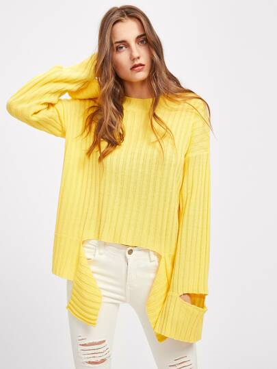 Cutout Sleeve Tie Front Ribbed Jumper