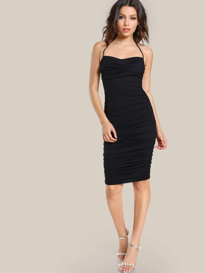 Front Twist Ruched Bodycon Dress BLACK