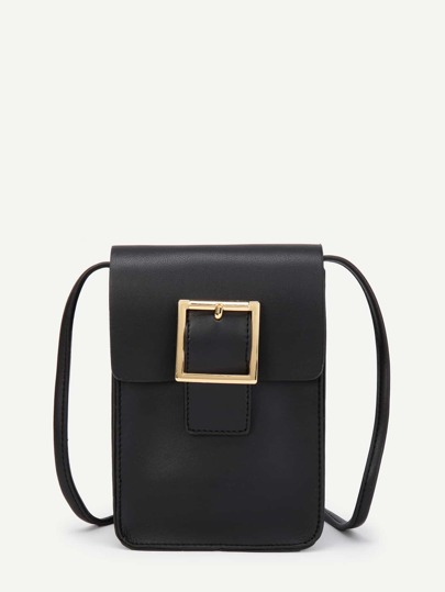 Metal Buckle Front PU Cross Body Bag