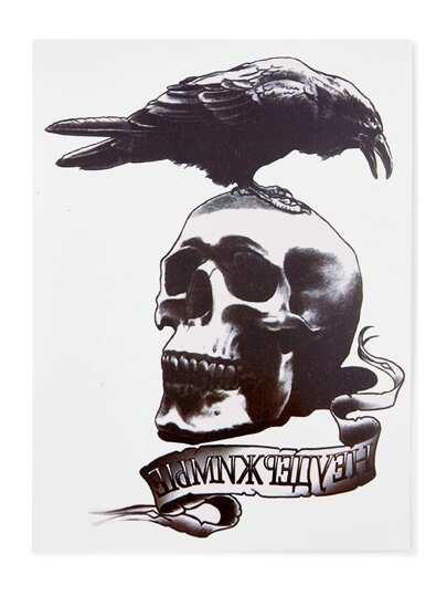 Etiqueta de tatuaje de esqueleto y pájaro
