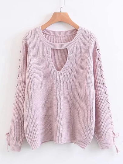 V Cut Out Lace Up Grommet Sleeve Sweater