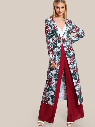 Kimono largo con estampado botánico