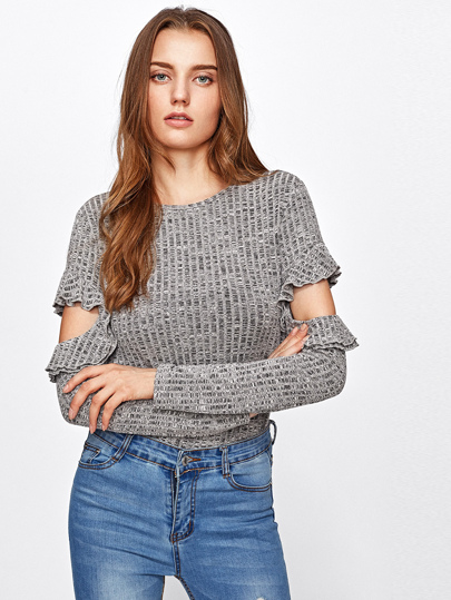 Frilled Cutout Sleeve Rib Knit Space Dye T-shirt