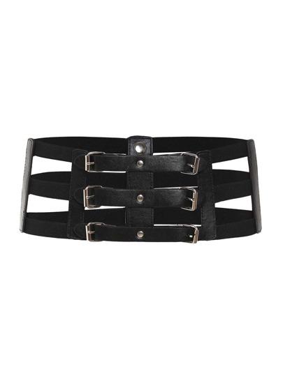 Cinturón enjaulado con triple hebilla