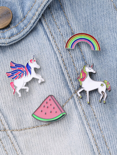 Horse & Rainbow Design Brooch Set