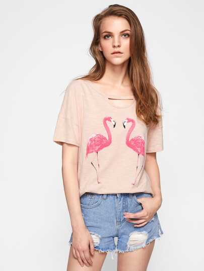 Cutout Neck Slub Flamingo Tee