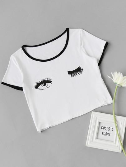 Crop T-Shirt mit Augenmuster
