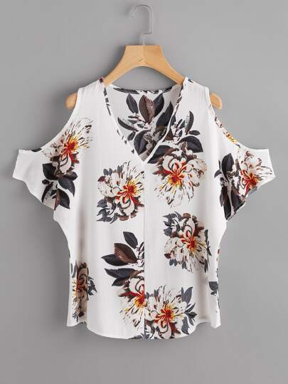 V Neckline Open Shoulder Random Florals Top