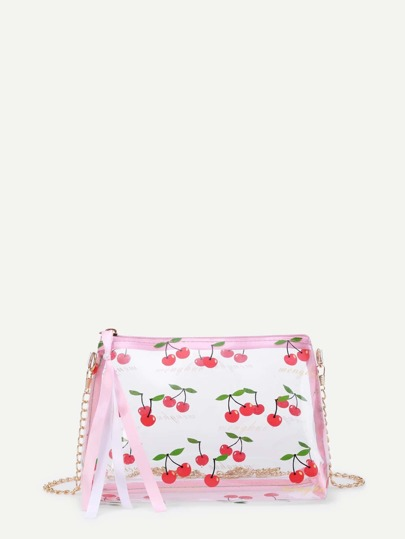 Cherry Print Chain Bag