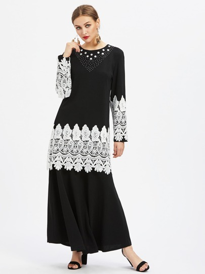 Lace Crochet Panel Hijab Evening Dress