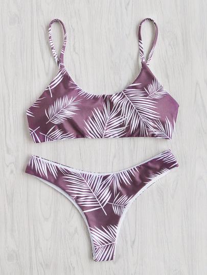Ensemble de bikini croisé au dos imprimé de la jungle