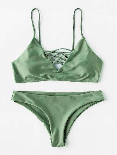 Lattice Front Bikini Set