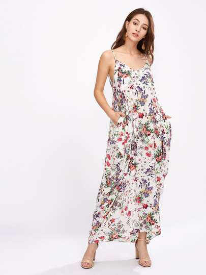 Botanical Print Double Plunge Cami Dress