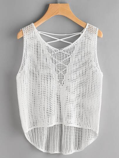 Open-Knit Lace Up Back Dip Hem Top