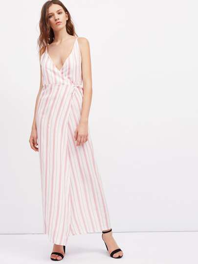 Vertical Striped Overlap Cami Dress