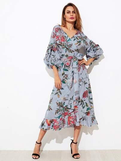 Robe portefeuille manche ruchée imprimée mixte avec des plis