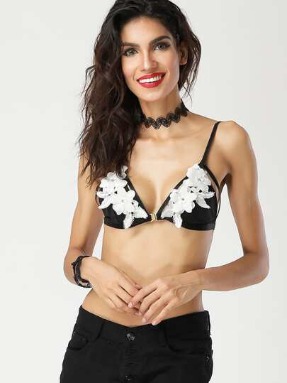Contrast Flower Applique Harness Detail Bralette