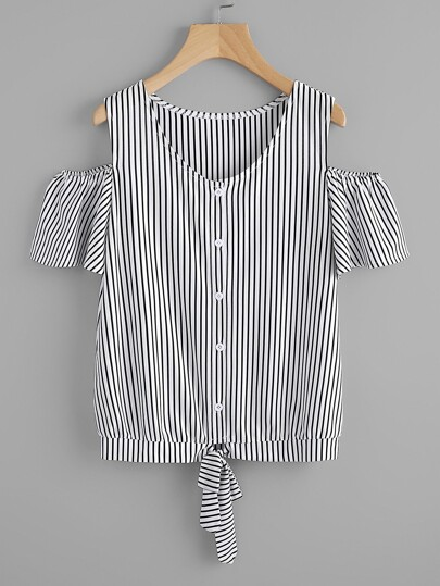 Vertical Striped Open Shoulder Tie Hem Tee