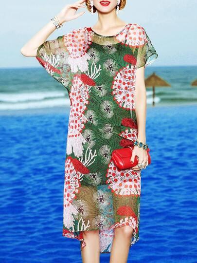 Asymmetric Sleeve Floral High Low Dress