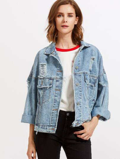 Dropped Shoulder Destroyed Denim Jacket