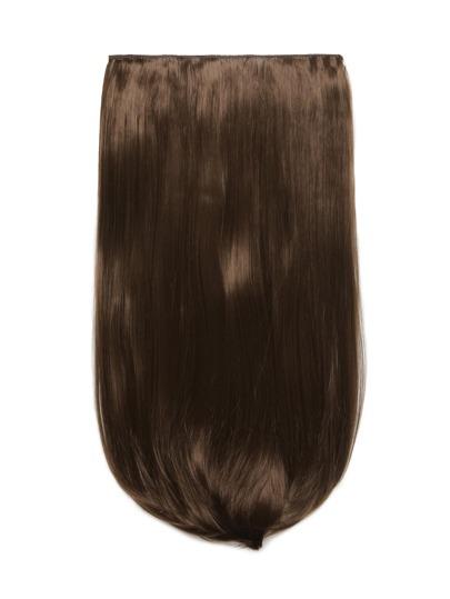 Каштановый клип в прямом длинном наращивании волос