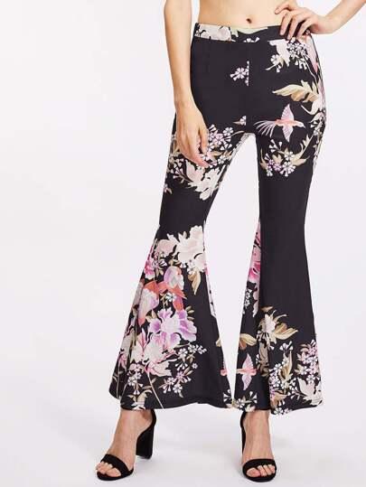 Pantaloni a campana con stampa botanica