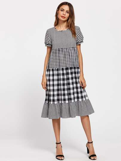 Puff Sleeve Mixed Gingham Dress