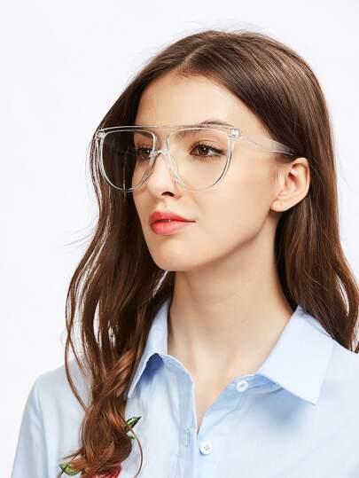 Gafas transparentes oversizd con superior plano