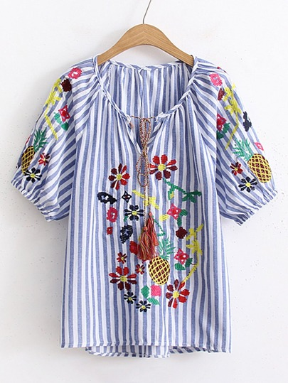 Vertical Striped Tassel Tie Embroidery Top