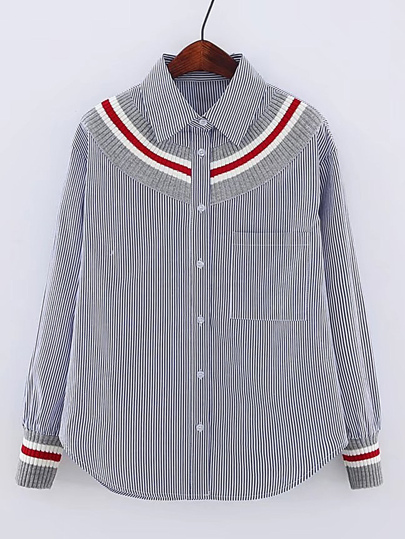 Contrast Ribbed Detail Pinstripe Blouse