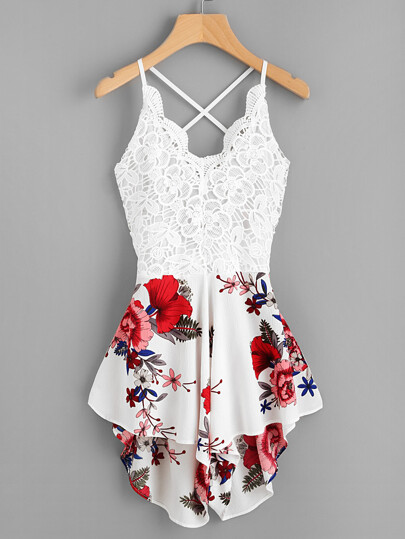 Crochet Lace Panel Bow Tie Back Florals Romper