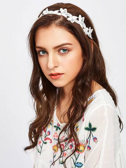 Faux Pearl Detail Embroidery Flower Hair Band