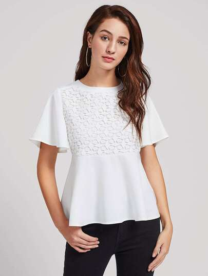 Lace Crochet Overlay Bell Sleeve Peplum Top