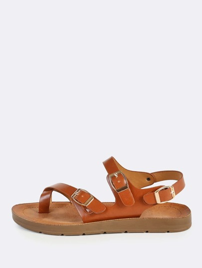 Buckle Toe Ring Leather Wrap Sandals CHESTNUT