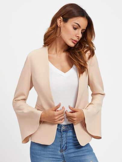 Trumpet Sleeve Buttonless Blazer