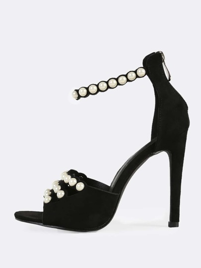Faux Suede Studded Pearl Heels BLACK
