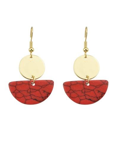 Red Color Geometric Texture Temstone Pendant Earrings