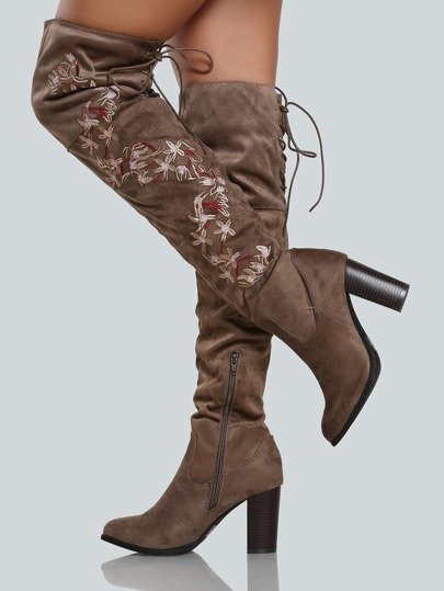 Faux Suede Floral Embroidered Zip Up Thigh High Boot TAUPE