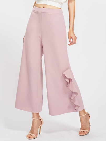 Flounce Side Zipper Back Palazzo Pants