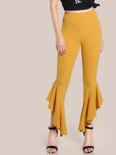 Asymmetric Ruffle Hem Pants