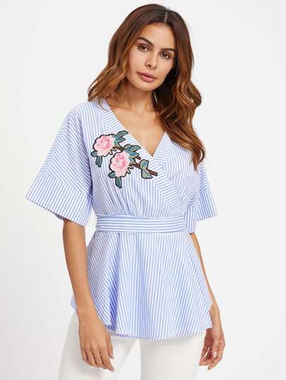 Embroidered Flower Applique Overlap Wrap Top